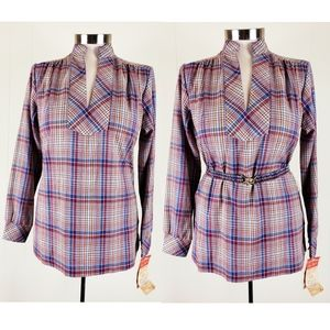 Vintage Laura Mae plaid tunic with belt